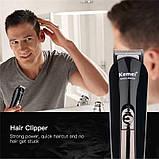 Профессиональная машинка для стрижки волос триммер универсальный Kemei KM-600 11в1 с подставкой, фото 6