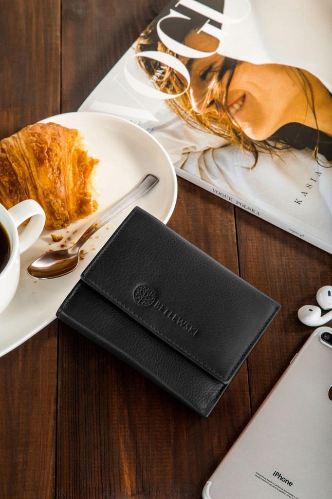 Шкіряний гаманець BETLEWSKI з RFID 12 х 9,5 х 2,5 (BPD-SS-14) - чорний