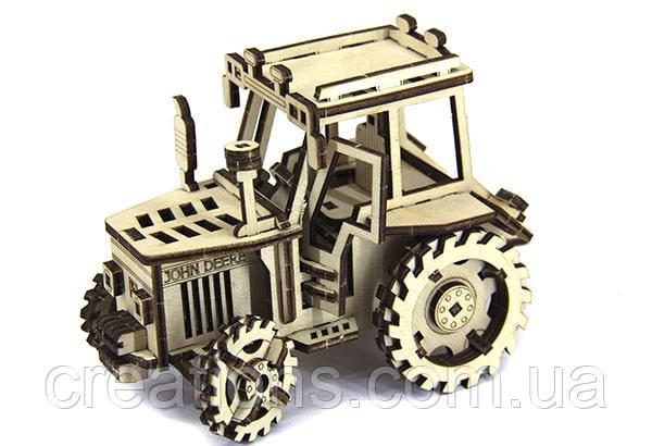 """Конструктор пазли з дерева """"трактор John Deere"""" розвиваюча іграшка для дітей"""