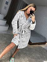 Женский короткий махровый халат с капюшоном 2020, фото 1