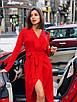 Платье асимметричное из костюмки на запах с длинным рукавом 36PL988, фото 5