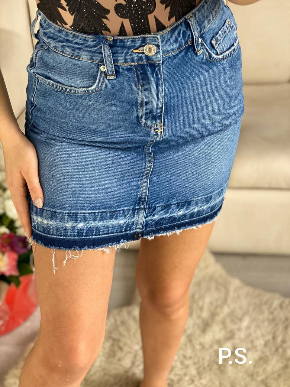 Женская джинсовая юбка с карманами 76JU364