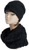 Комплект Колпак шапка с отворотом и снуд чёрный