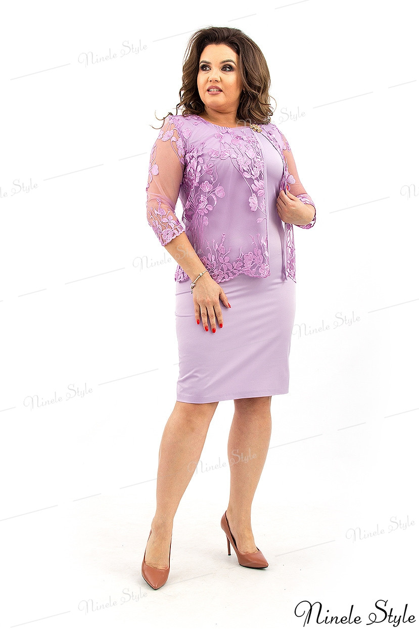 Сиреневое вечернее женское платье с кружевной накидкой 362-2 54