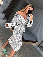 Длинный женский махровый халат, серый, фото 1