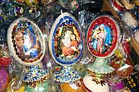 Дерев'яні великі яйця з бісеру на ніжці з іконками різні кольори