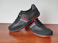 Чоловічі туфлі спортивні чорні прошиті зручні (код 5411), фото 1