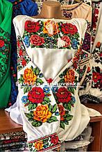Жіноча вишита сорочка білого кольору із квітами в етно стилі «Буковинка»