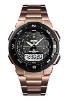 Мужские стальные часы Skmei 1370 - Rose Gold ( 5 bar)