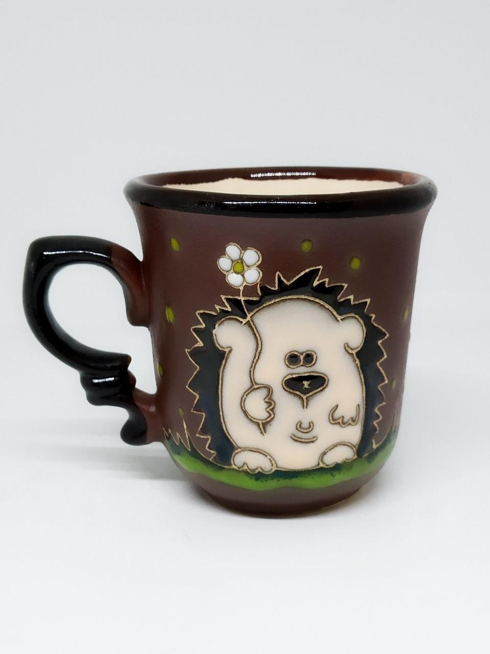 """Чашка кофейная """"Ежик  с цветком"""""""