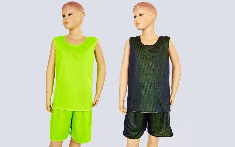 Форма баскетбольная подростковая двусторонняя сетка Stalker (рост 125-160, салатовый-черный)
