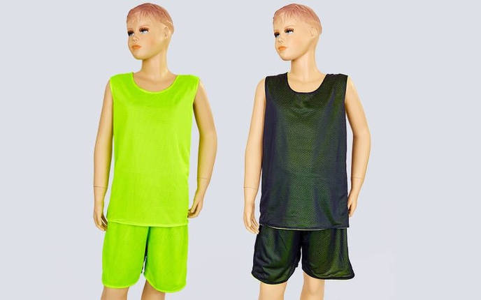Форма баскетбольная подростковая двусторонняя сетка Stalker (рост 125-160, салатовый-черный), фото 2
