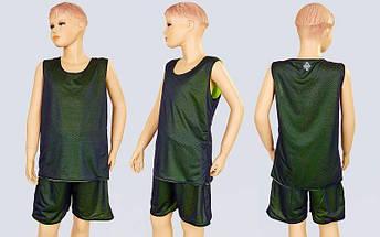 Форма баскетбольная подростковая двусторонняя сетка Stalker (рост 125-160, салатовый-черный), фото 3