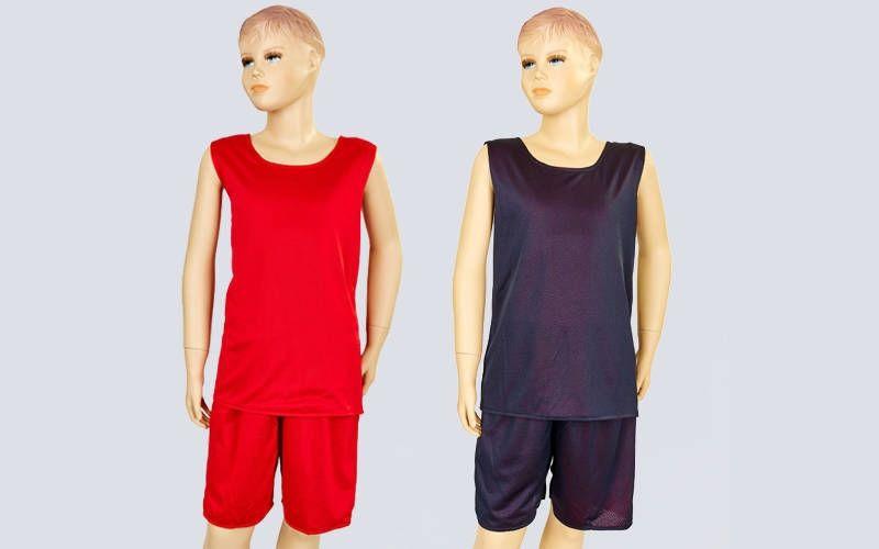 Форма баскетбольная подростковая двусторонняя сетка Stalker (рост 125-160, красный-черный)