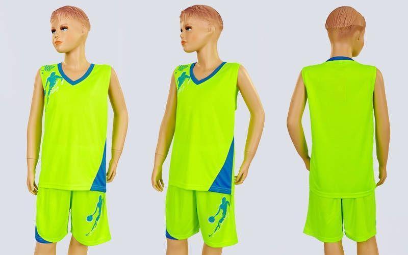 Форма баскетбольная подростковая Pace  (PL, р-р S, M, L,115,120, рост 125-165, салатовый-голубой)