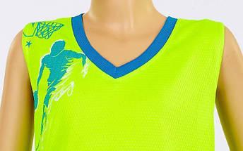 Форма баскетбольная подростковая Pace  (PL, р-р S, M, L,115,120, рост 125-165, салатовый-голубой), фото 2