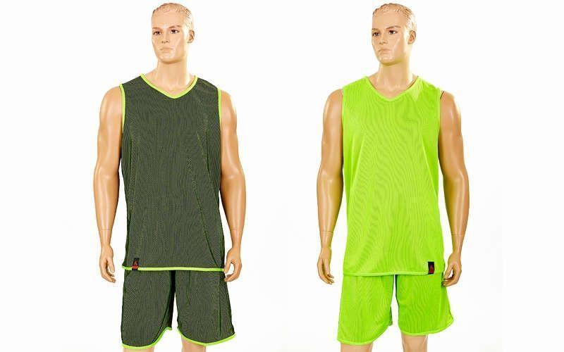 Форма баскетбольная мужская двусторонняя однослойная Ease (рост 160-190 см, салатовый)