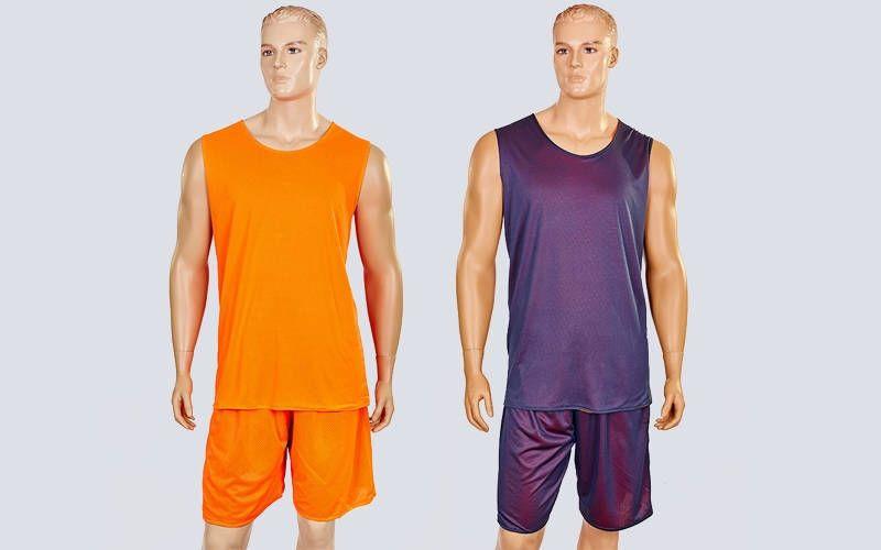 Форма баскетбольная мужская двусторонняя сетка Stalker (рост 165-190 см, оранжевый-серый)