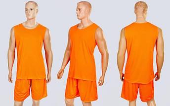 Форма баскетбольная мужская двусторонняя сетка Stalker (рост 165-190 см, оранжевый-серый), фото 2