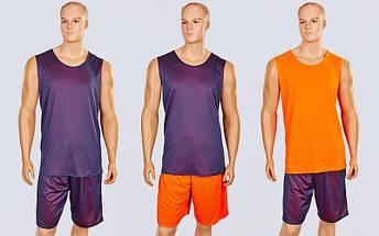 Форма баскетбольная мужская двусторонняя сетка Stalker (рост 165-190 см, оранжевый-серый), фото 3