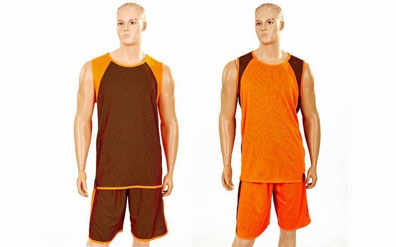 Форма баскетбольная мужская двусторонняя однослойная Unite (рост 160-190 см,оранжевый)