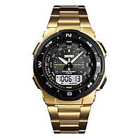 Мужские стальные часы Skmei 1370 - Gold ( 5 bar)