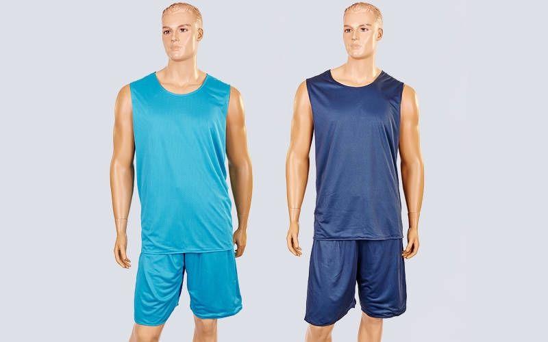 Форма баскетбольная мужская двусторонняя сетка Stalker (рост 165-190 см, серый-голубой)