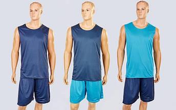 Форма баскетбольная мужская двусторонняя сетка Stalker (рост 165-190 см, серый-голубой), фото 3