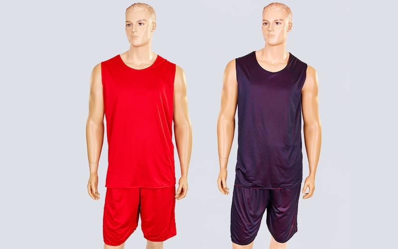 Форма баскетбольная мужская двусторонняя сетка Stalker (рост 165-190 см, красный-черный)