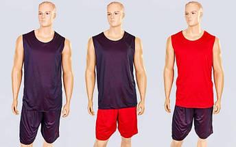 Форма баскетбольная мужская двусторонняя сетка Stalker (рост 165-190 см, красный-черный), фото 3