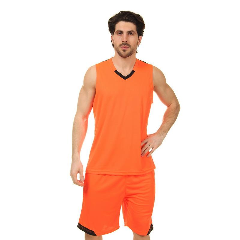 Форма баскетбольная мужская LD-8002-5 (PL, оранжевый-черный)
