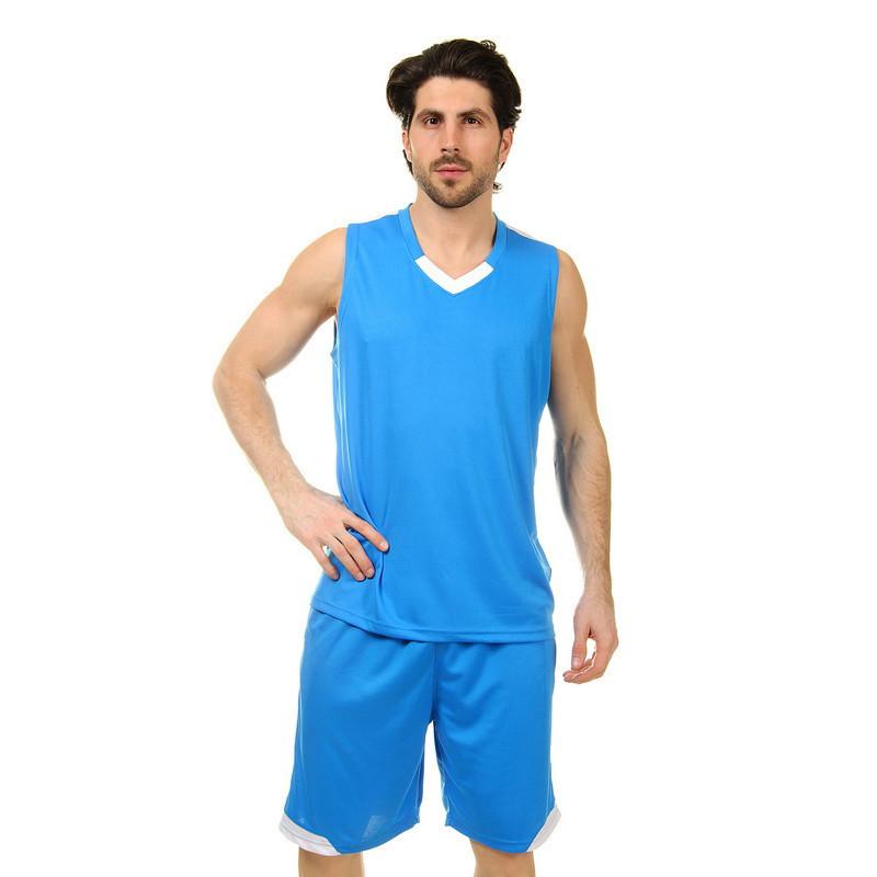 Форма баскетбольная мужская LD-8002-6 (PL, голубой-белый )