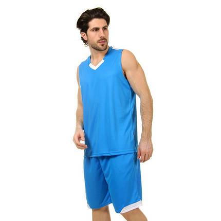 Форма баскетбольная мужская LD-8002-6 (PL, голубой-белый ), фото 2