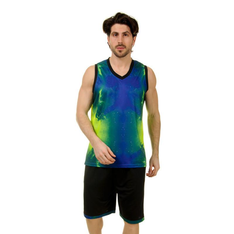 Форма баскетбольная мужская LD-8007-2 (PL, синий-салатовый )