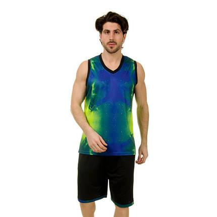 Форма баскетбольная мужская LD-8007-2 (PL, синий-салатовый ), фото 2
