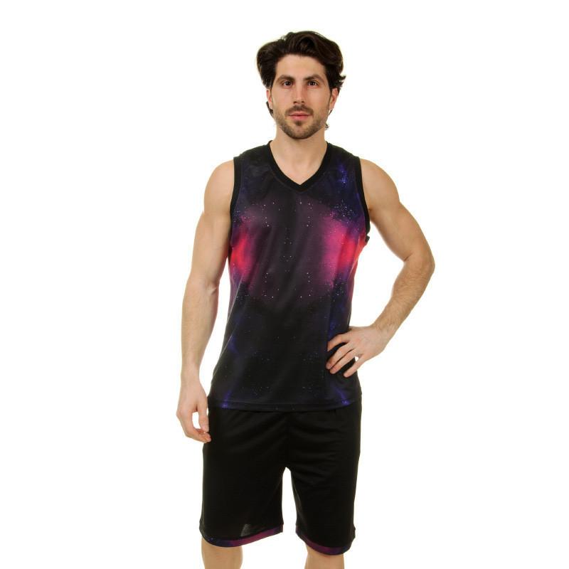 Форма баскетбольная мужская LD-8007-4 (PL,  черный-фиолетовый )