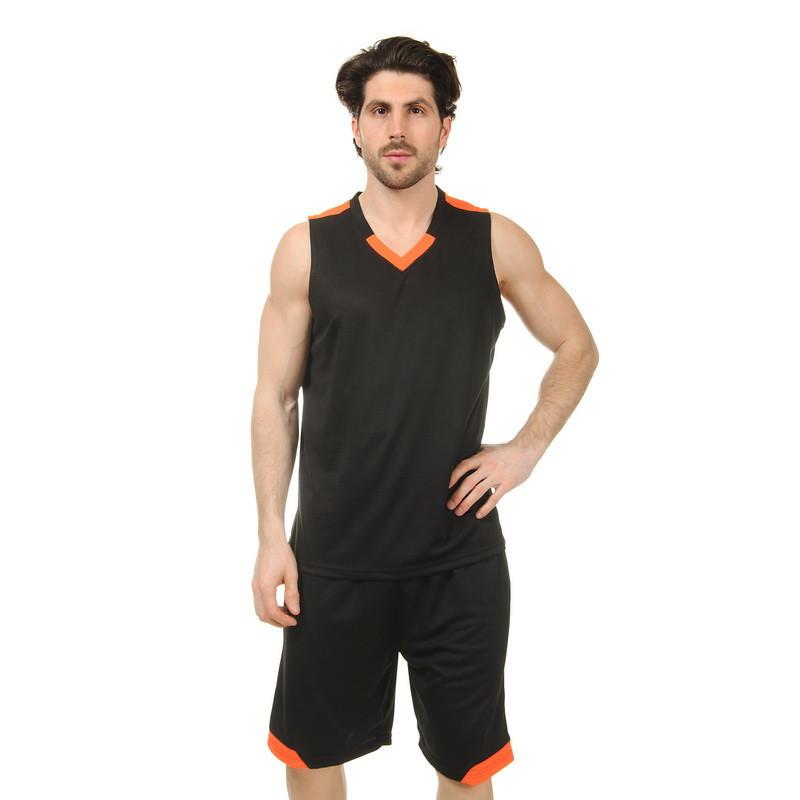 Форма баскетбольная мужская LD-8002-3 (PL, черный-оранжевый)