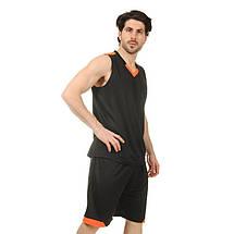 Форма баскетбольная мужская LD-8002-3 (PL, черный-оранжевый), фото 3