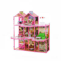 Домик для кукол, Игрушечный домик 6992 для куклы, 3 этажа,свет, мебель (высота 109 см) 11/33.1