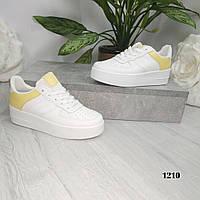 Женские кроссовки белые с желтым, фото 1