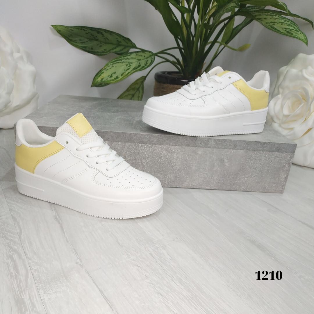 Женские кроссовки белые с желтым