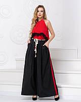 Модные женские брюки-юбка длинные широкие черные с красным