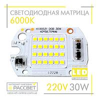 Светодиодная матрица 30Вт 220В для светодиодного LED прожектора DOB 30W 220V 6000К
