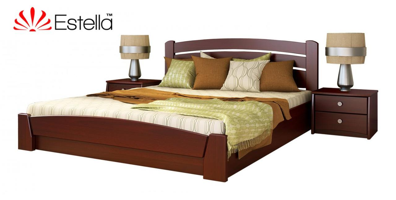 """Двуспальная кровать """"Селена Аури"""" из бука (щит, массив) с подъемным механизмом"""