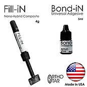 Композит нано-гібридний (пластичний) Fill-in в шприці (4г) с Bond-in (5мл) світлового затвердіння