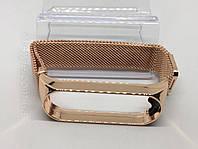 Металлический ремешок на магните для xiaomi mi band 3 ми бенд 4 розовое золото