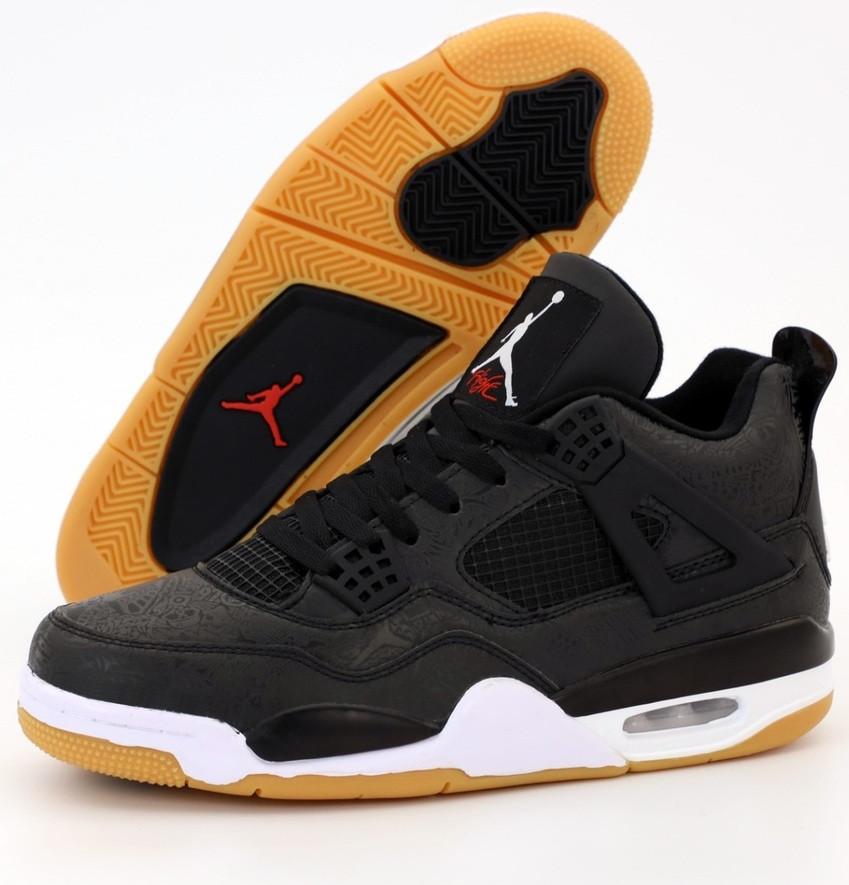 Мужские кроссовки Air Jordan 4 Retro черный с белым 41-46р. Живое фото (Реплика ААА+)