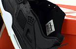 Мужские кроссовки Air Jordan 4 Retro черный с белым 41-46р. Живое фото (Реплика ААА+), фото 6