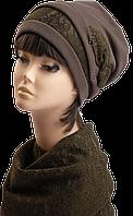 Комплект берет и шарф-хомут (трикотаж+кружево) тёмный хаки
