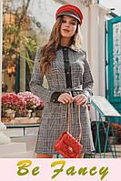 Платье с кожаным воротником
